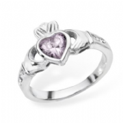 Sterling silver rubover set Pink cubic zirconia claddagh ring